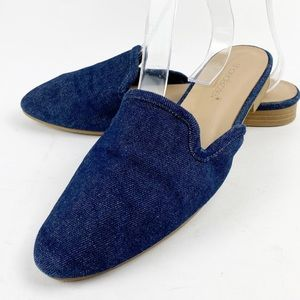 Shoedazzle Denim Jean Flat Mules Slip On 7